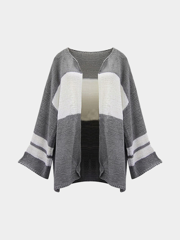 Gray And White Loose Fit Cardigan Sweater