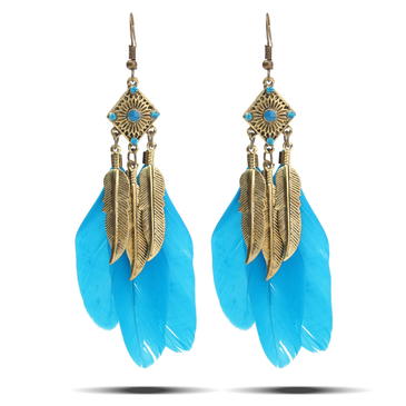 Vintage Style Metal Blue Feather Drop Earrings