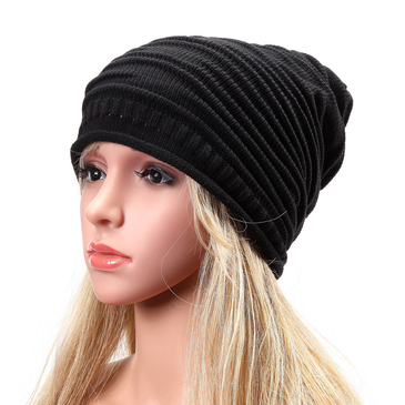 Black Causal Knitted Rib Beanie