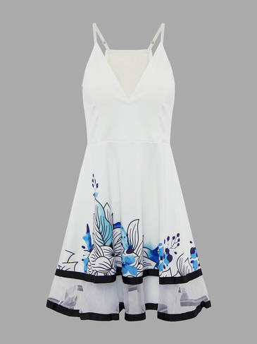 White Sheer Random Floral Printing Plunge V-neck Mini Dress
