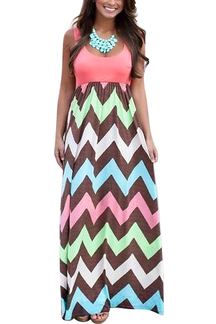 Zigzag Sleeveless Maxi Dress In Watermelon Red