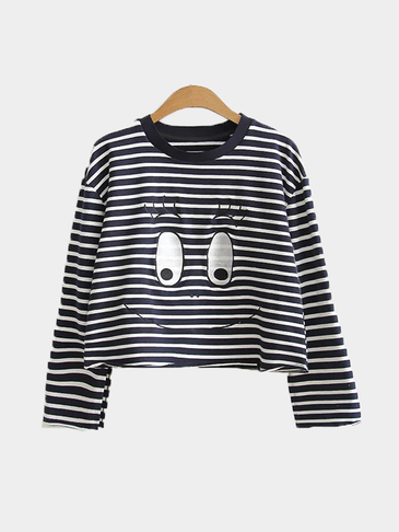 Stripe Eye Pattern Short Length Sweatshirt