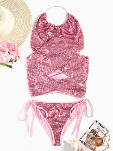 Sexy Halter Neck Lace-up Sequins Bikini Set
