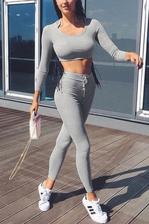 Grey Long Sleeves Hoodie Crop Top & Fashion Legging Co-ord