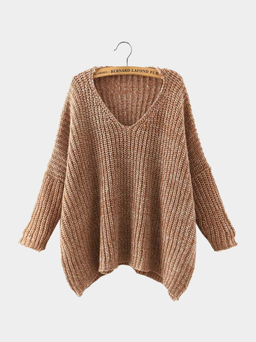 V Neck Drop Shoulder Sweater in Khaiki