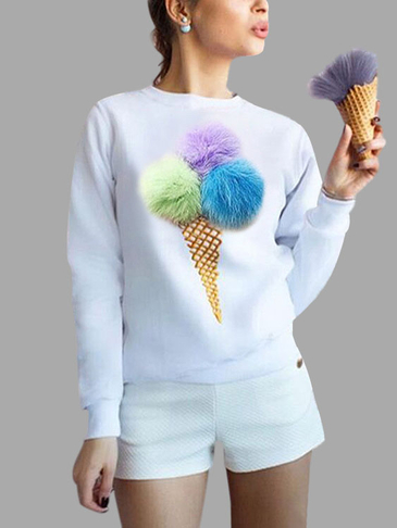 Белый LOG Sleeves Round Neck Sweatshirt с Pom Pom Details