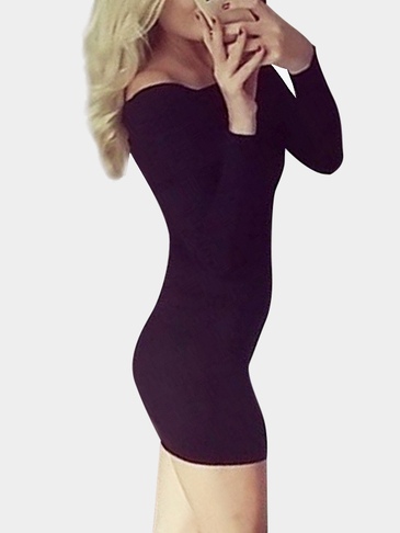 Black Off Shoulder Bodycon Mini Vestido com Over-layer