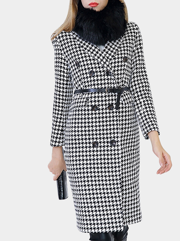 Houndstooth Pattern Shawl Collar Duster Coat with Black belt