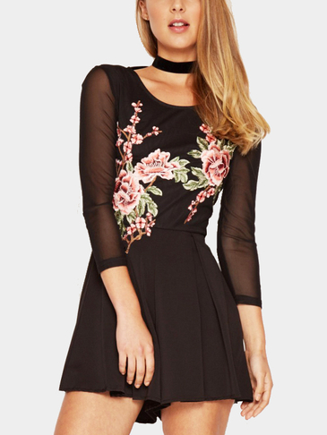 Black Mesh Embroidery Floral Romper
