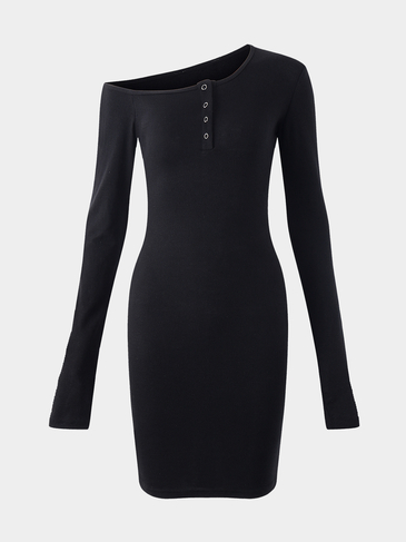Black Sexy Bodycon One Shoulder Dress With Botton Design