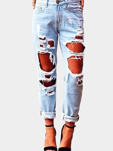 Sexy High-waist Extreme Rips Details Jeans