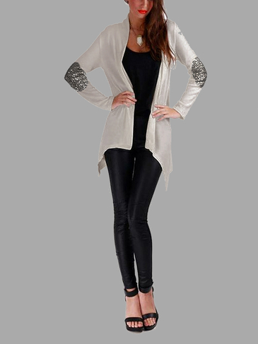 Grey Open Front Thin Cardigan with Metallic Glitzy Details