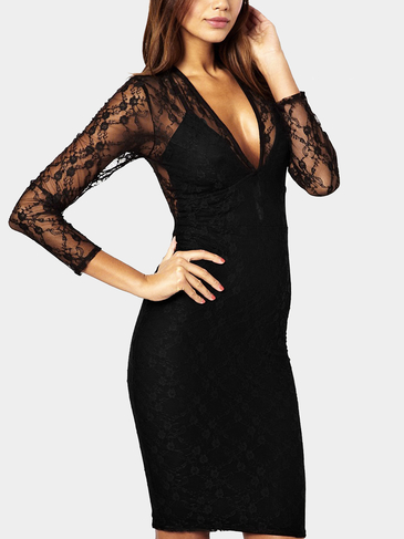 Plunge V-neck See-Through Lace Bodycon Dress