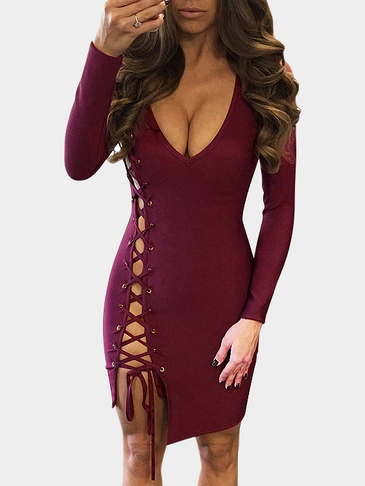 Burgundy Sexy Side Lace-up Design Dress with Zipper Back