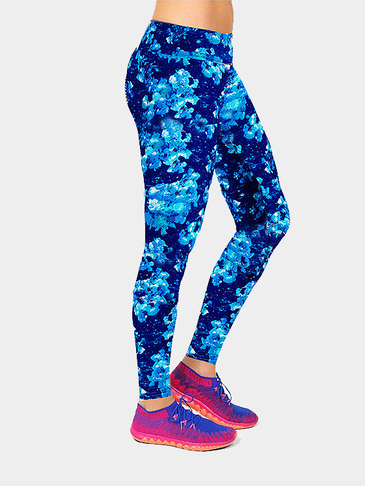 Blue Floral Print Fashion Leggings