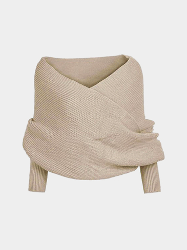 Beige Cross Front Design Knit Cape