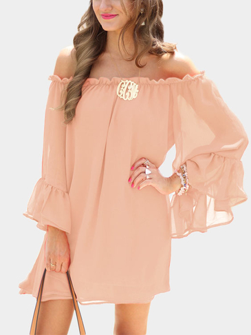Pink Bateau Flared Sleeves See Through Chiffon Mini Dress with No Belt