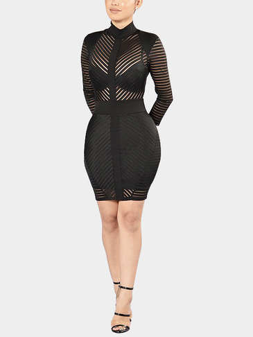 Black Bodycon See-through High Neck Tulle Stripe Design Party Dress