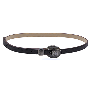 Black Skinny Waist Belt with Engraved Details