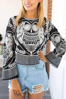 Black Owl Embroidery Chiffon Blouse