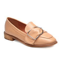 Apricot Flat Side Buckle Design Loafers