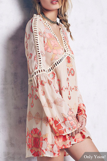 Print Hollow Out A-line Dress