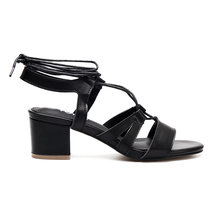 Black Strappy Leather Look Lace-up Block Heel Sandals