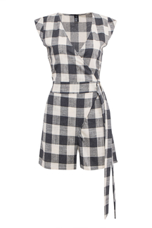 Wrap Front Romper In Check Pattern