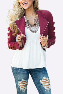 Burgundy Fashion Zipper Short Jacket with Hollow Sleeves