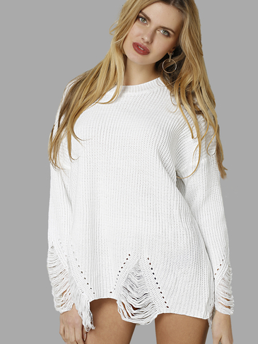 Oversize Plain White Color Holed Design Long Sweater
