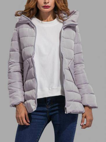 Light Grey Fashion Side Pockets Hoodie Quilted Outerwear