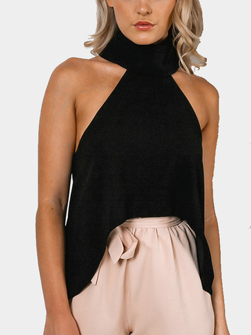Black High Collar Curved Hem Fashion Cropped Top