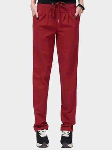 Burgundy Drawstring Waist Side Pockets Sport Trousers