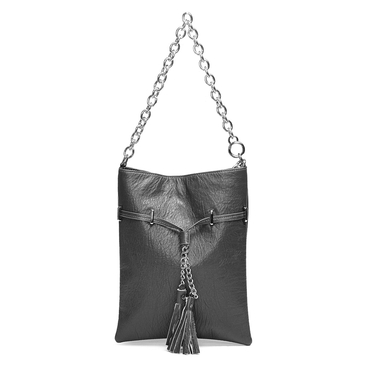 Grey Tassel Embellished Shoulder Bag with Chain Strap