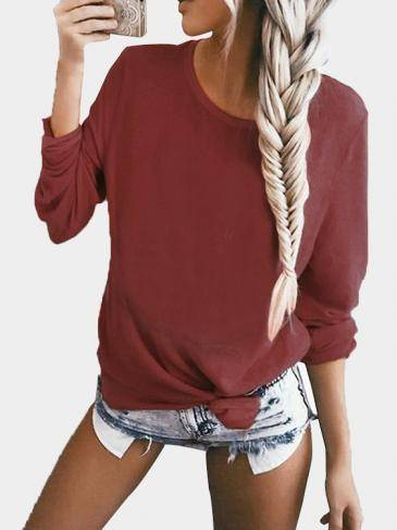 Burgundy Casual Knit Scoop Neck Sweatshirt with Pocket