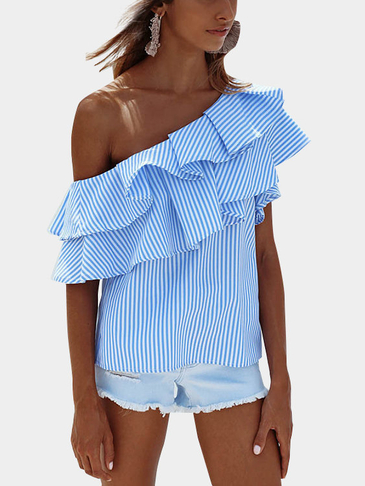 Blue Sexy Stripe Pattern One Shoulder Flouncy Details Top