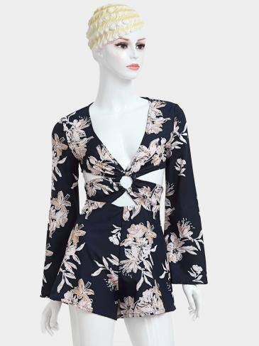 Floral Print V-neck Playsuit with Flared Long Sleeves