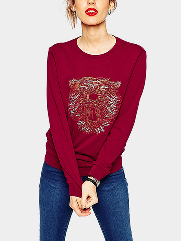 Lion Patten Sweatshirt in Burgundy