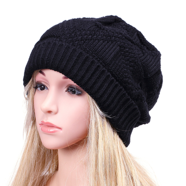 Black Crochet Knit Ribbed Hat