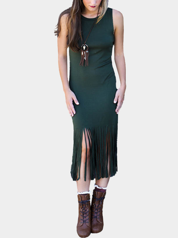 Dark Green Sleeveless Tassel Hem Body-Conscious Dress