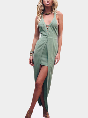 Crisscross Back Cutout V-neck Party Dress with Long Overlay