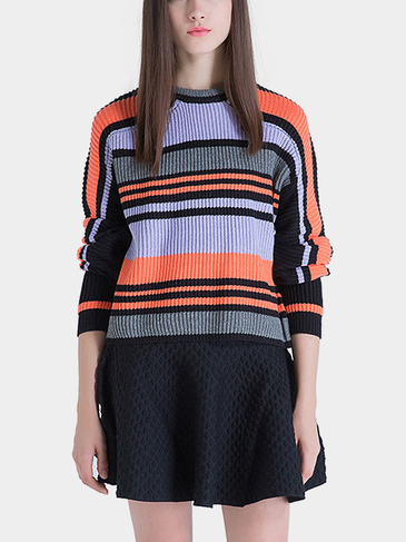 Stripe Knitted Jumper in Orange