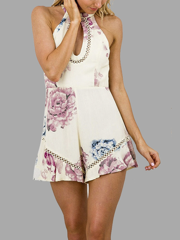Halter Floral Print Keyhole Playsuit with Hollow Out