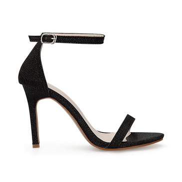 Black Cross Strap High Heels With Ankle Pin Buckle Strap
