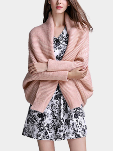 Fashion Pink Lange Ärmel Open Front Cardigan