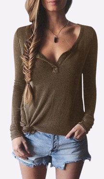 Brown Plunge Casual Design Blouse with Long Sleeves