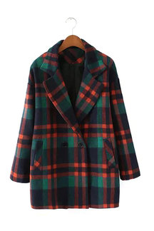 Lapel Collar Check Duffle Coat