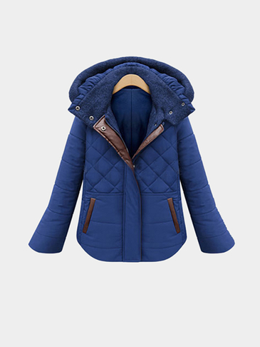 Blue Winter Hooded Quilted Padded Outwear