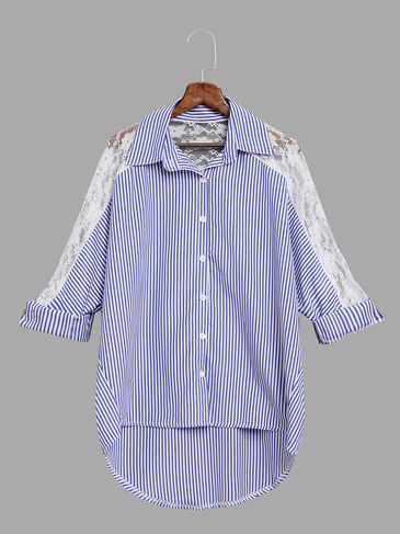 Fashion Stripe Pattern Shirt With Lace Details