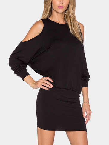 Black Cold Shoulder Knit Bodycon Mini Vestido